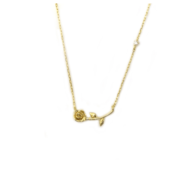 14k Rose Stem Necklace