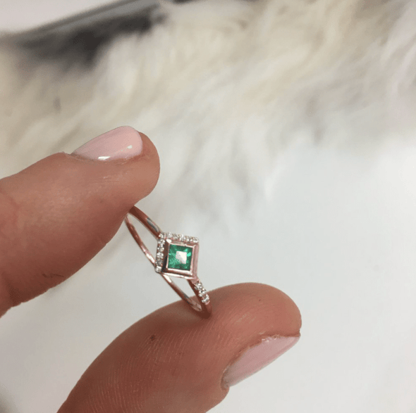 14K Rose Gold Emerald Diamond Ring