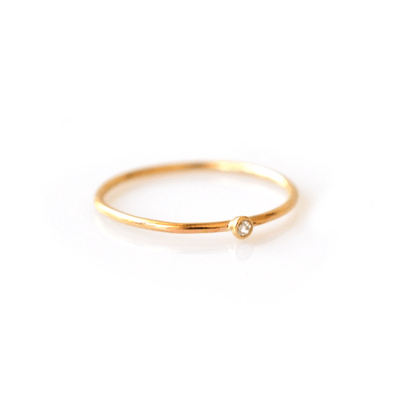 14k Gold Petite Diamond Ring