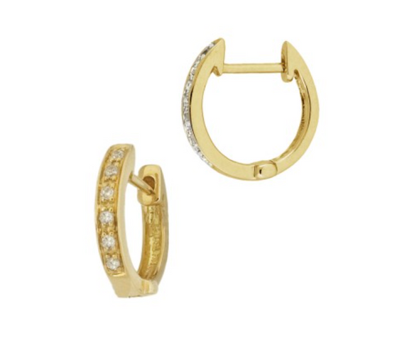 Solid 14k Gold Diamond Huggie Hoops - xohanalei