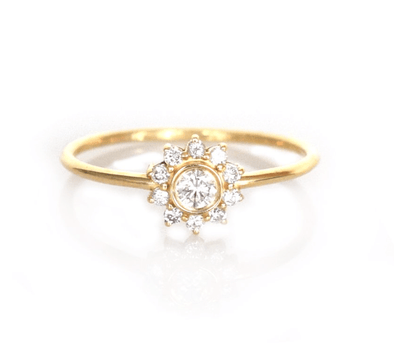 14k Gold and Diamond Sunflower Ring - xohanalei