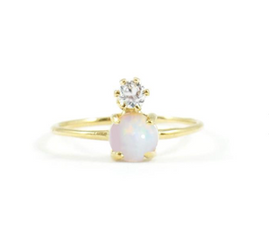 Gold Vermeil Opal And Diamond Ring - xohanalei