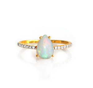 Opal and Topaz Teardrop Ring - xohanalei