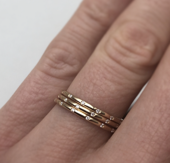 14k Gold Diamond Eternity Band - xohanalei
