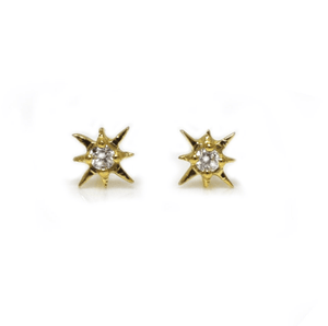14k Mini Star + Diamond Studs - xohanalei