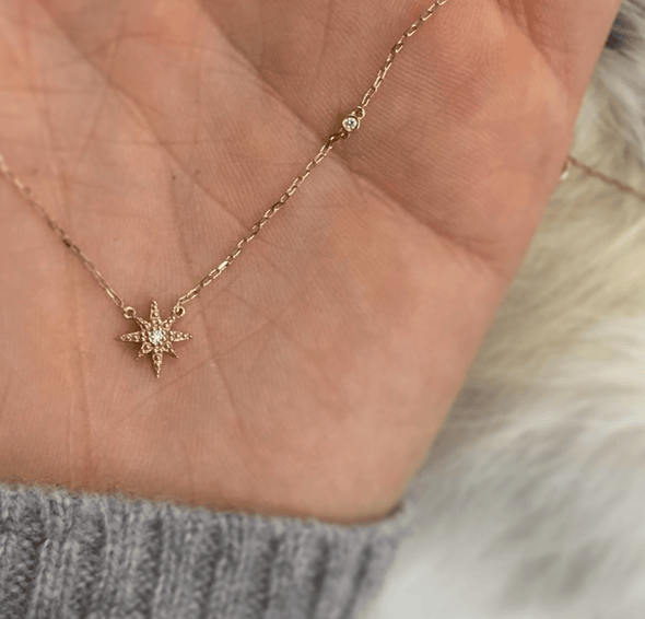 14k Gold Diamond Starburst Necklace - xohanalei