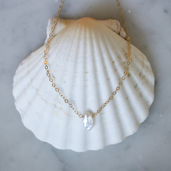 White Keshi Pearl Necklace - xohanalei