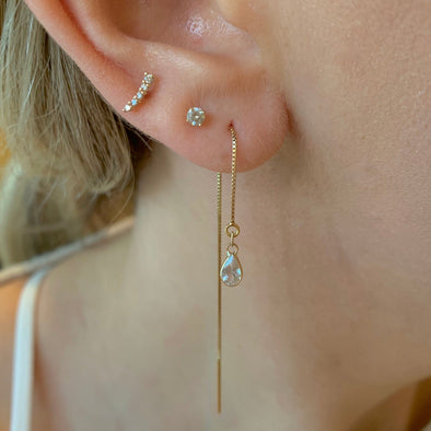 14k White Topaz Threader Earrings - xohanalei
