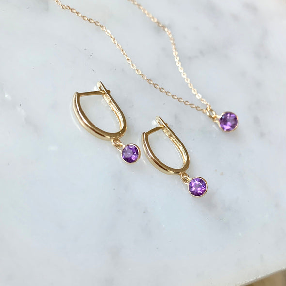 14k Gold Amethyst Necklace - xohanalei