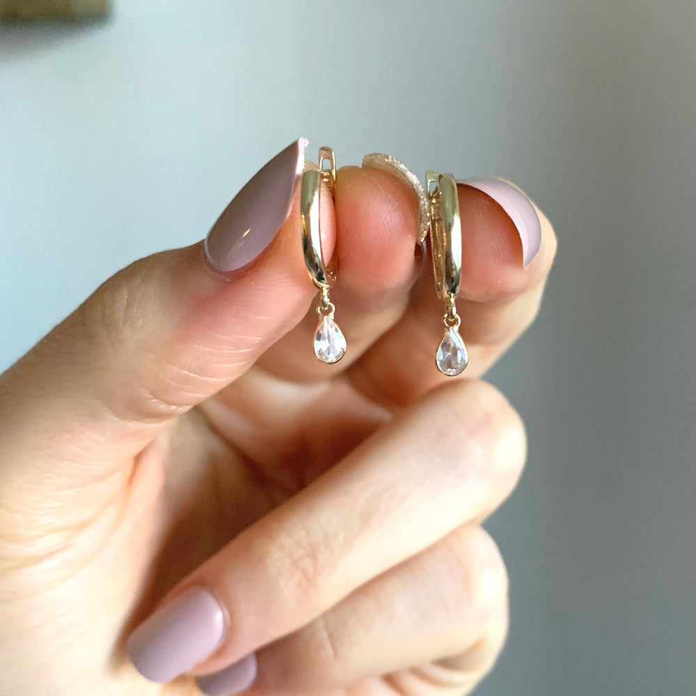 14k Gold and White Topaz Huggies - xohanalei