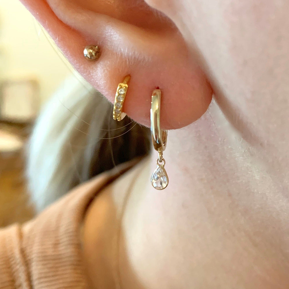 14k Gold and White Topaz Huggies