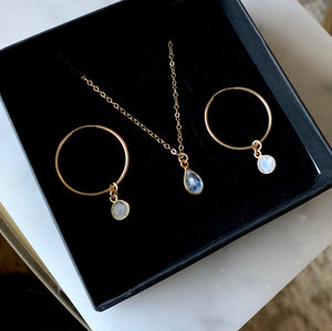 Moonstone Earring and Necklace Gift Set - xohanalei