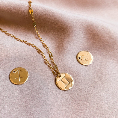 Zodiac Disc Necklace (14k GF)