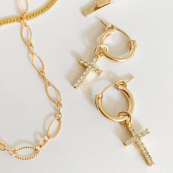 Luce Cross Hoops