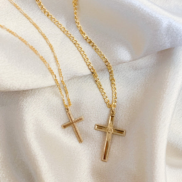 Men's Curb Chain Cross Necklace