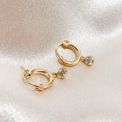 14k Gold Filled Cz Hoops
