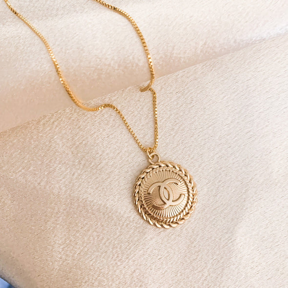 Vintage CC Ornate Coin Necklace