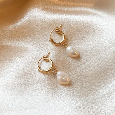 14k Gold Filled Pearl Huggies