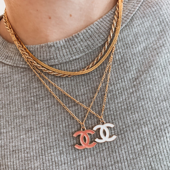 Vintage CC Enamel Necklace