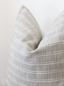 GREY TEXTURED STRIPED PILLOW COVER