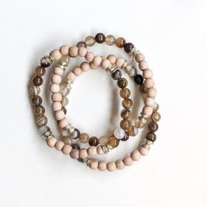 Brown Banded Agate Essential Oil Diffuser Bracelet - The Oily Blends