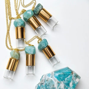 Lukas + Lexx Amazonite Roller Bottle Necklace - The Oily Blends