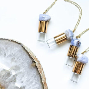 Lukas + Lexx Blue Lace Agate Roller Bottle Necklace - The Oily Blends