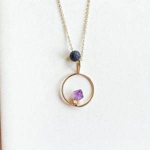Lukas + Lexx l Gemstone Halo + LAVA Diffuser Necklace - The Oily Blends