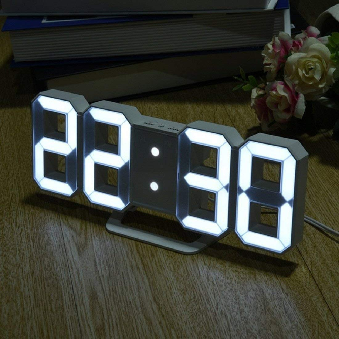 Multi-use 8 Shaped LED Display Desktop Digital Table Clocks 3 levers of Light: Bright Snooze Interval Setting USB Charge