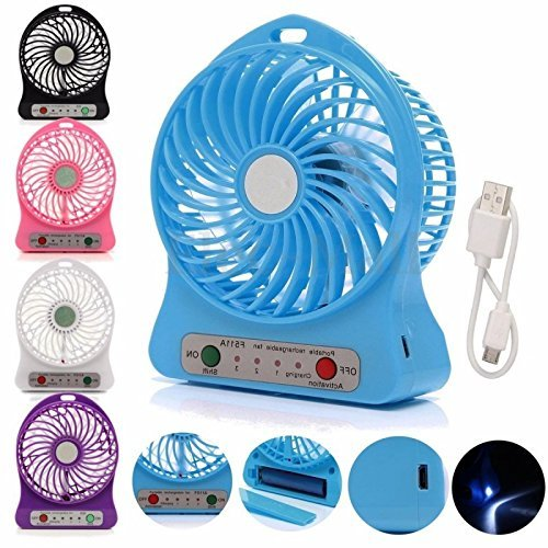 Mini Portable USB Rechargeable 3 Speed Fan Colors May Vary
