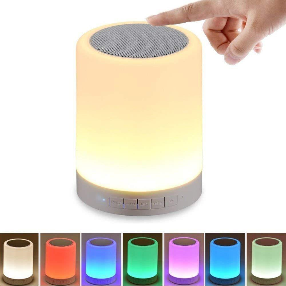 Wireless Bluetooth Speaker with Smart Touch Led Mood Lamp, SD Card Slot/AUX Input