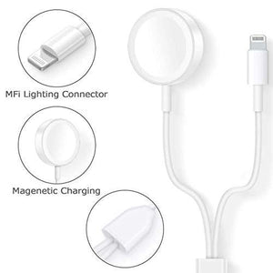 2 in 1 Wireless Charger for Apple Watch Series 1 2 3 4 USB Magnetic Charging Cable 1 mtr for iPhone