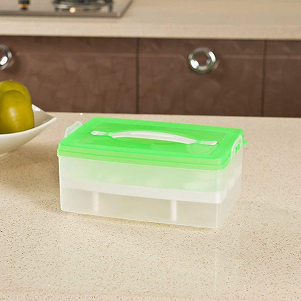 Plastic Double Layer 24 Eggs Storage Container Box