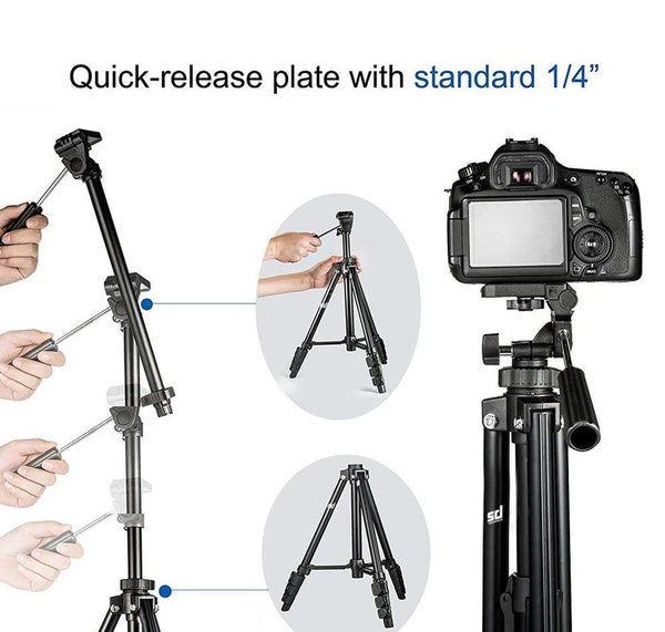 DSLR Camera Tripod for Camera  Mobile Clip Holder  Selfie Trigger 2-Section Lever-Lock Legs