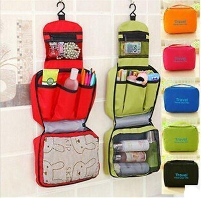 Nylon Toiletry Bag Cosmetic Makeup Pouch with Multi Pockets Hook Toiletry Bag