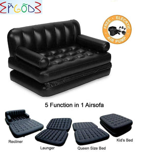 5 in 1 Inflatable 3 Seater Queen Size Sofa Cum Bed