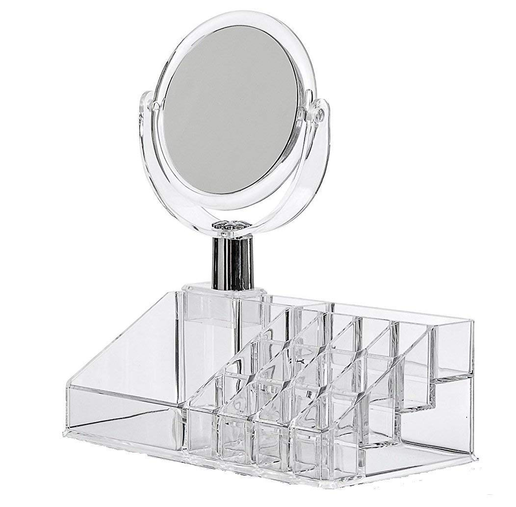 Cosmetic Make Up Clear Acrylic Lipstick Organizer 16 Slot with Removable Mirror