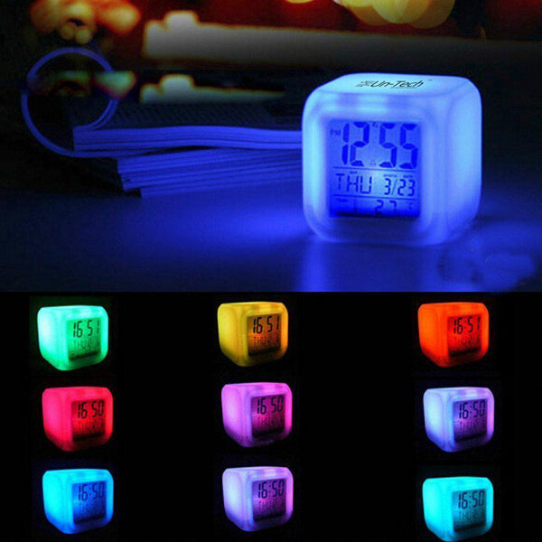 Color Changing LED Alarm Table Desk Clock with Calender Time Temperature Lights
