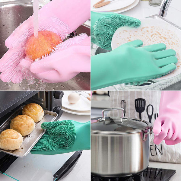 Silicone Kitchen Magic Gloves for Dishwashing Rubber Dish Washing with Brush Cleaning Scrubber – 1 Pair