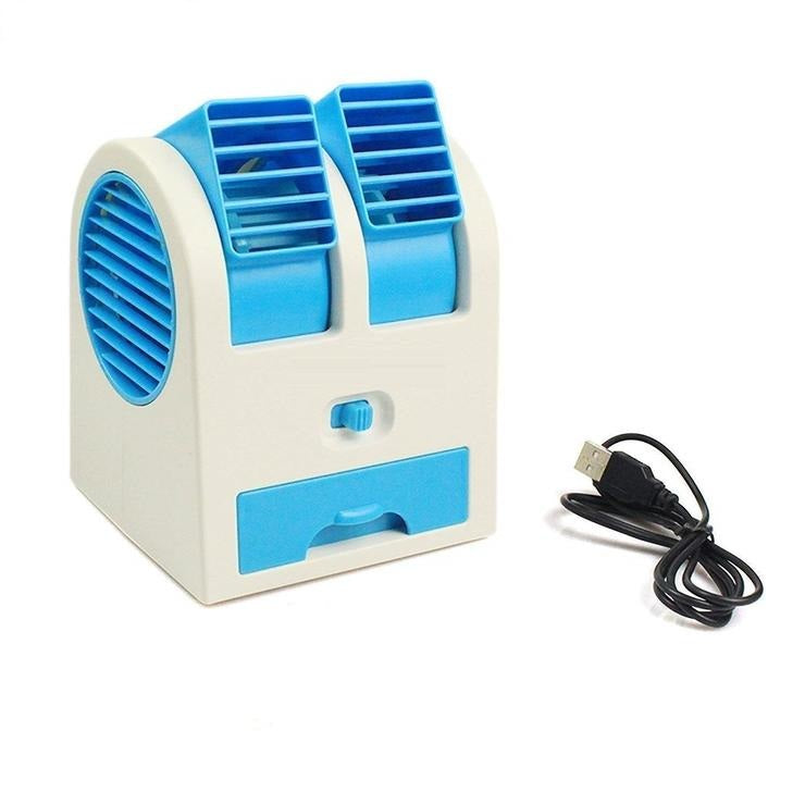 USB Air Conditioner Cooling Fan Dual Bladeless Air Cooler Multi Color
