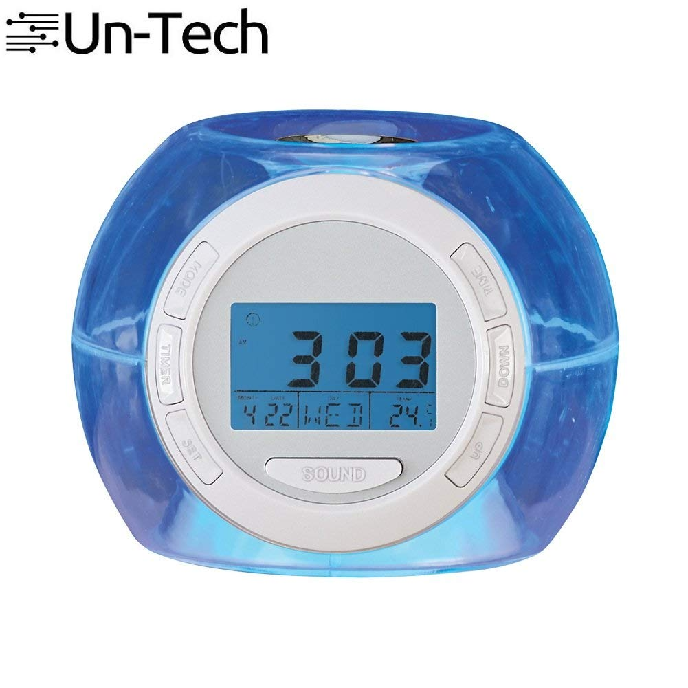 7 LED Colour Changing Night Light Alarm Clock with Nature Sounds to Fall Asleep