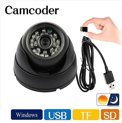 Un-Tech Dome CCTV Security Camera with Night Vision, TV-Output and Expandable Memory of up to 32GB (Black)