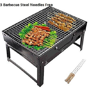 Foldable Charcoal Barbecue Grill Oven BBQ Grill Oven Set Black with 3 Barbecue Steel Needles