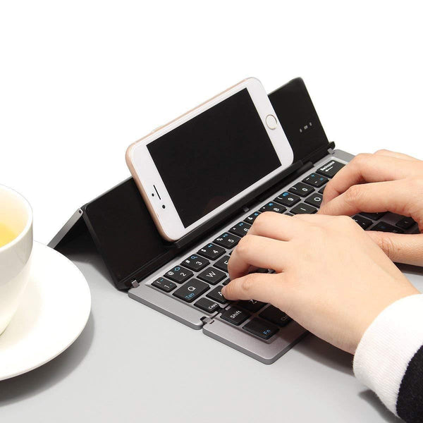 Foldable Wireless Bluetooth Keyboard with Kickstand F18 Silver