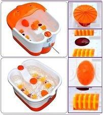 Foot Spa Bath And Roller Massager For Feet Pain Relieve And Care White And Orange