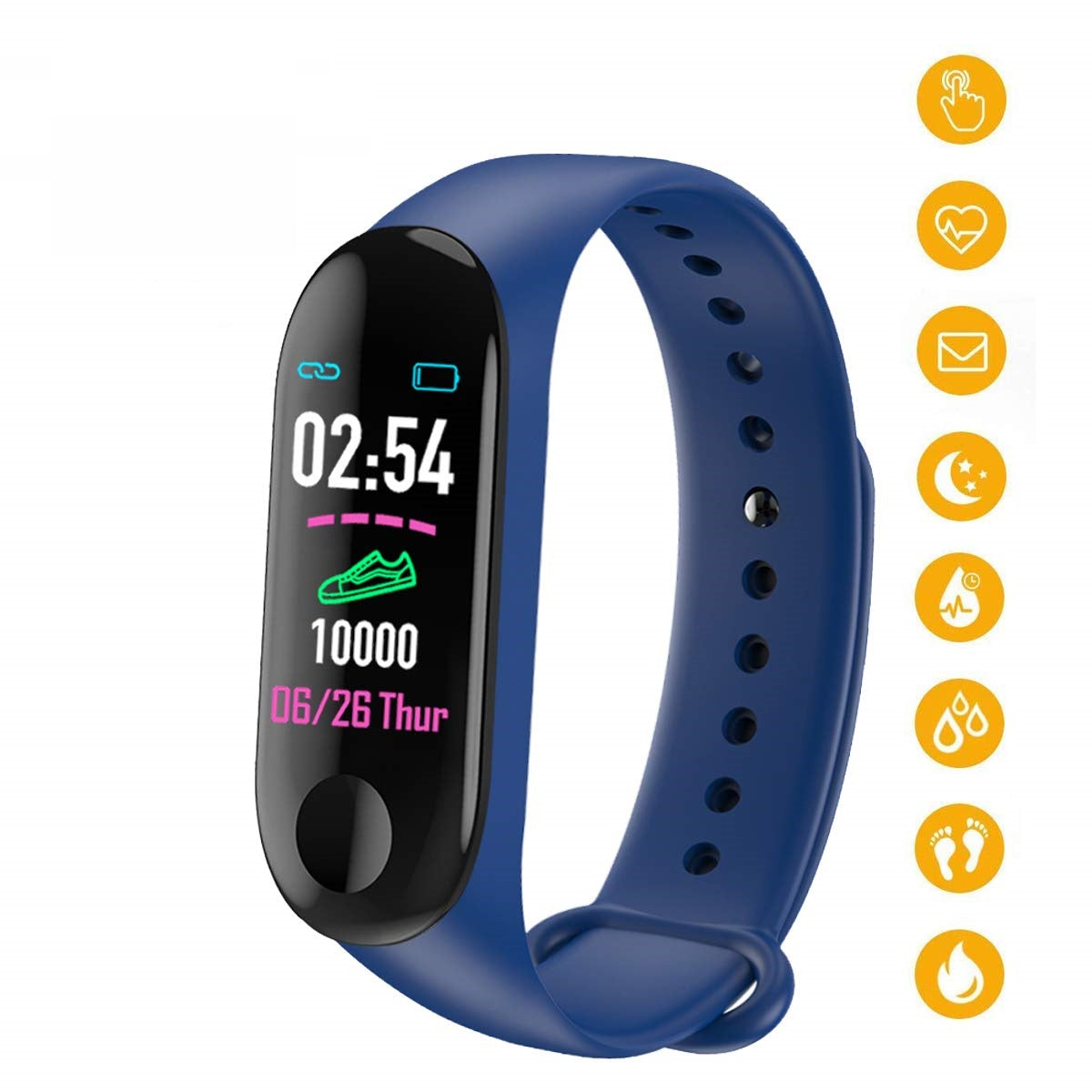M3 Band with Activity Tracker Heart Rate Monitor OLED Display Navy Blue