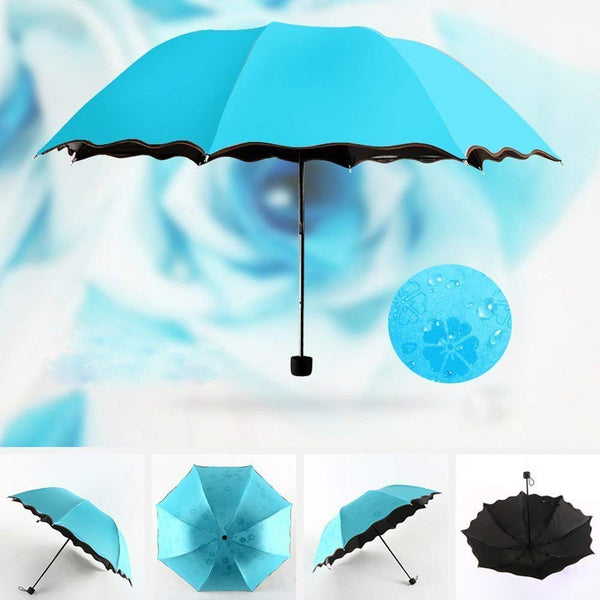 Triple Folding Mini Blossom Magic Umbrella with Magic Floral Design Appears on Umbrella During Rain for Girls and Women (Multi Color Pack of 1)