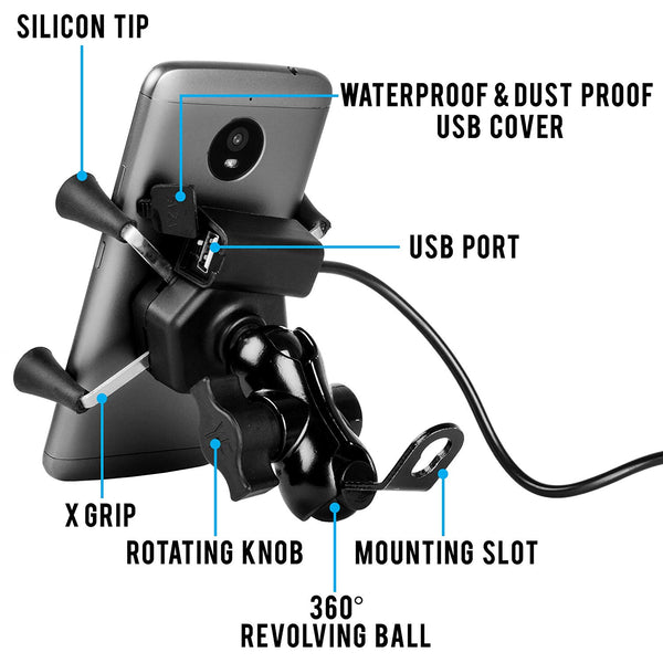 Phone Holder with Fast Charging USB Output 5V-2A Compatible For All Bikes