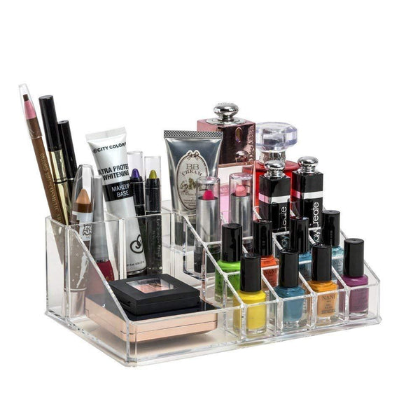 Lipstick Nailpaint Compartment Cosmetic Organiser Box Transparent 22Lx13Wx8Hcm