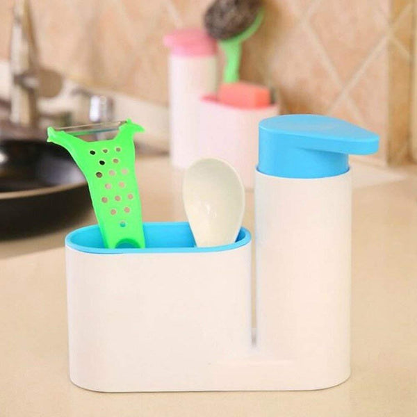 Plastic Self Sink Drainer Dishwasher Sanitizer Liquid Dispenser and Sponge Holder